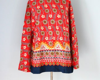 1960s Red Floral Tunic / 60s Cotton Scandanavian print top / 60s Sears Tunic