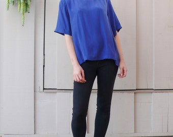 Vintage Washed Silk 1980's Cobalt Blue Perry Ellis Silk Tunic Top M/L