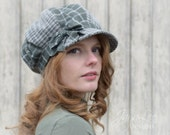 Newsboy Hat / Gray and Green Patchwork Cap