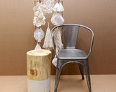 White Paint Dipped + Wax - Tree Stump Side Table Stool Seat