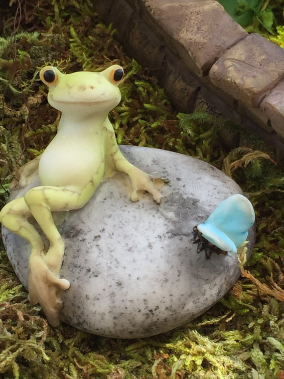 Miniature Frog and Butterfly On Stone Figurine, Style 4344, Fairy Garden Accessory, Miniature Home & Garden Decor, Shelf Sitter, Topper