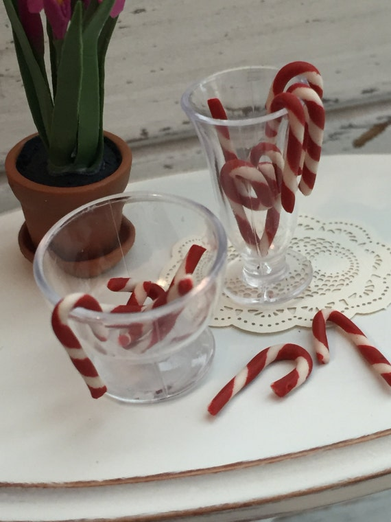 Miniature Candy Canes, Packaged Set, 12 Pieces, Dollhouse Miniatures, 1:12 Scale, Mini Candy Canes, Christmas Decor, Accerssory