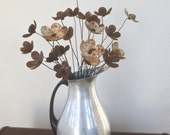 Bouquet of Rusty Forever Blooming Flowers in Etched Silver Vintage Pitcher