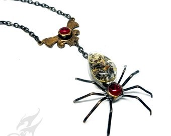 Victorian Steampunk Spider Necklace ~ Dark Brass ~ Resin Cabochon w/ Watch Gears, Red Rhinestones in Hex Nut Settings, Brass Chain #N0682