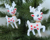 Vintage Christmas Ornaments - Set of 2 Rudolph the Red Nosed Reindeer