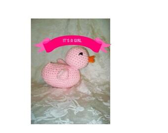 Crochet  Pink Duck Crochet Rubber Ducky Handmade Baby Duck