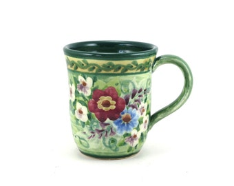 Green Pottery Mug - Handpainted Floral Print - One of a Kind Tea Cup or Coffee Mug - Deep Green Inside and Flowers