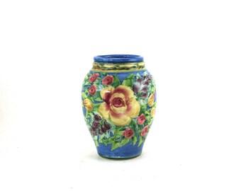 Orange Stoneware Flower Vase - Pottery Flower Pot - Floral Design and Red Porcelain Trim - OOAK