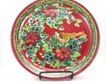 """Red Dinner Plate - 10"""" Ceramic Serving Platter - OOAK Floral and Bird Design on a Rich Background - Striped Edge Detail"""