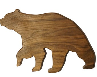 Natural Wood Bear shaped cutting board, Walnut wooden cheese board, Rustic Bear Kitchen Decor, Animal shaped carving board Gourmet chef gift
