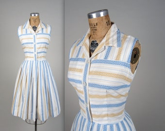 1950s stripe shirtwaist dress • vintage 50s dress • cotton summer dress