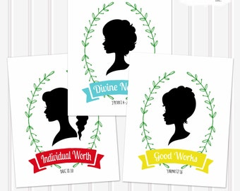 LDS Young Women's Values-Printable Set-Includes all Values-Choose your size-Mormon-LDS-YW