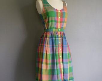 Vintage SUMMER Plaid RALPH LAUREN 70s Cotton Sun Dress with Pockets (xs-s)