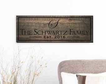 Personalized Family Name Sign Engraved Wood with Rustic Finish 7x20