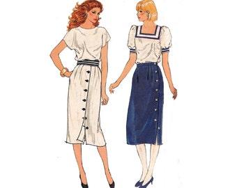 80s Button Trim Skirts Pattern Butterick 4863 Size 8 10 12 UNCUT Factory Folds