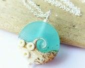 Beach Jewelry, Ocean Jewelry, Beach Necklace, Ocean Necklace, Wave Necklace, Seafoam Blue Lampwork Sea Glass Necklace, Beach Wedding Jewelry
