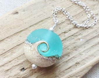 Beach Wave Necklace, Sea Glass Lampwork Pendant, Ocean Jewelry, Beach Jewelry, Seafoam Bright Aqua Blue, Gift for Her, Beach Lover, Gift