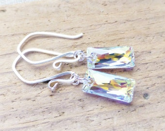 Aurora Borealis Crystal Earrings, Swarovski Dangle Rectangle Earrings, Sterling Silver, Column Crystal, Prism Earrings, AB Jewelry, Bridal