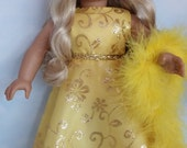 S A L E - 18 inch doll clothes - #251 Yellow Glitter Gown made to fit the American Girl Doll