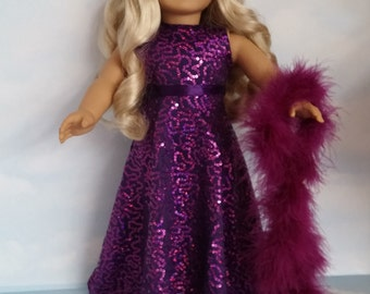 18 inch doll clothes - #246 Purple Sequin Gown handmade to fit the American Girl Doll - FREE SHIPPING