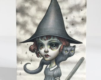 Witch Girl - 4 x 5.75 Mini Art Print by Mab Graves - unframed