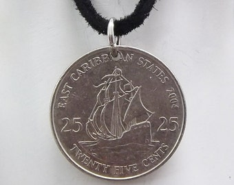 Boat Coin Necklace, Caribbean 25 Cents, Coin Pendant, Leather Cord, Men's Necklace, Women's Necklace, 2004