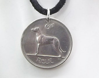 Dog Coin Necklace, Irish 6 Pingin, Coin Pendant, Irish Harp, Leather Cord, Men's Necklace, Women's Necklace, 1963