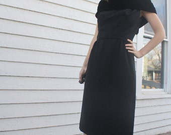 50s Black Velvet Cockail Dress Holiday Party Vintage 1950s Five Thirty PM Fashion XS S