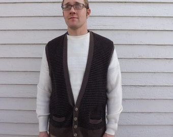 Mens Sweater Vest Vintage 70s Brown Black Wool Sportswear M L