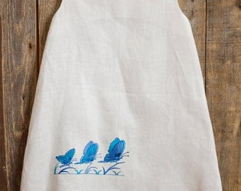 Linen Embroidered Dress, Flower Girl, Rustic Wedding, White Linen, Round Neck, Country Dress, Handmade, Butterfly Embroidery