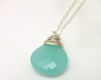 Aqua Chalcedony Necklace, Aqua Chalcedony, Aqua Chalcedony Jewelry, Seafoam, Seafoam Green, Chalcedony Necklace