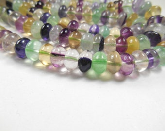 gemstone beads, Donut shape, Flourite gemstone spacers 8x5mm Beads,  about 20 pcs, 4 inch