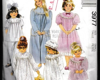 McCall's 3977 Children's or Girls Robe, Nightgown,Pajamas and Bonnet