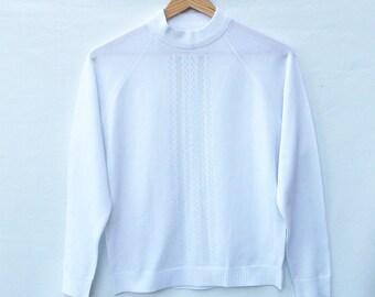 White Vintage Top - Raglan Sleeves