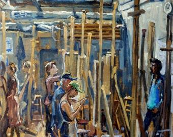 Morning North Light, Art Students League of New York. 20x16 American Realist Studio Interior, Signed Original Oil Painting, Fine Art
