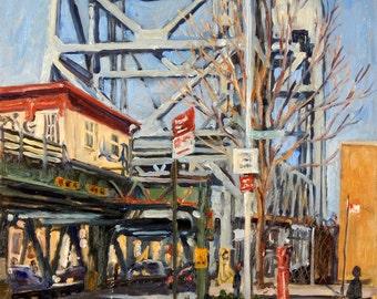 Under the Broadway Bridge, Inwood. Realist New York City Oil Painting, 18x14 NYC Urban Industrial Fine Art, Signed Original Cityscape