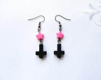 Kawaii Goth Earrings, Kawaii Earrings, Goth Earrings, Inverted Cross, Upside Down Cross, Goth, Kawaii, Pink, Black, Star