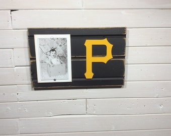 "Pittsburgh Pirates picture frame holds 4""x6"" photo, decor"