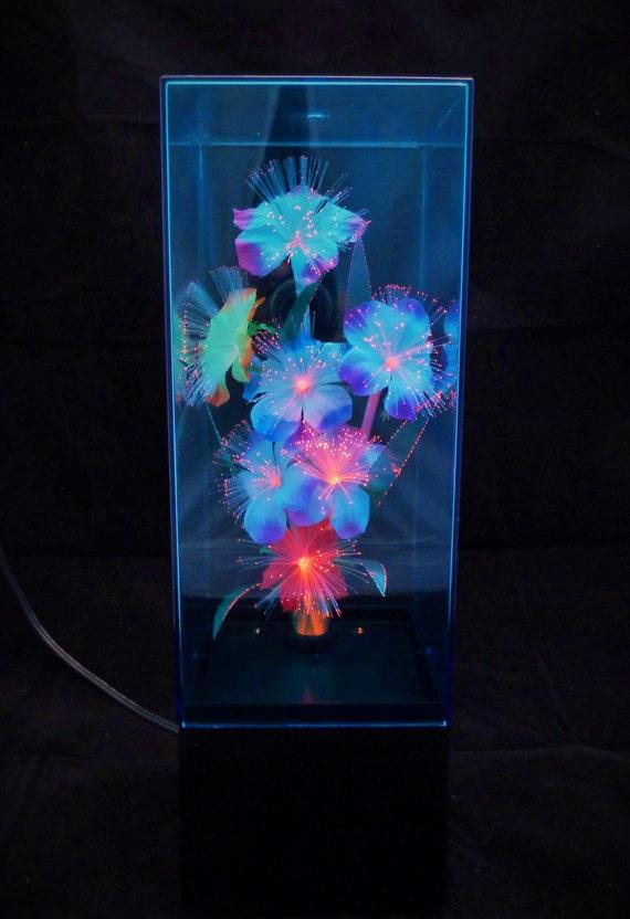 Vintage Fiber Optic Flower Box Lamp With Color Changing Light