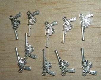 10 Tibet Silver Revolver Gun Beads