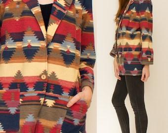 Oversized Serape blazer with pockets