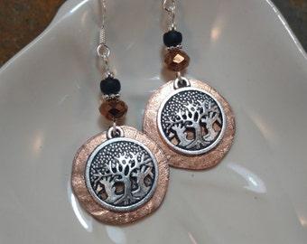 Copper Penny Forest Sterling Silver Earrings, Copper Trees Sterling Earrings, Copper Penny Tree Earrings, Forest Earrings, Tree Earrings