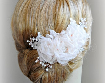 Light Blush Wedding Hair Flowers, Bridal Hair Piece, Blush Pink Head Piece, Crystals, Pearls, Silver, Gold, Rose Gold - ECHO