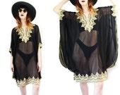 70's vintage Indian boho sheer black gold embroidered cover up tunic caftan dress lingerie o/s s m l