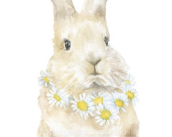 Watercolor Bunny Floral Painting Giclee Print - 5 x 7 - Nursery Art - Rabbit - Girls Room
