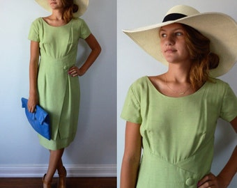 Vintage Adrian Dress, Green Dress, Vintage Dress, 1960s Dress, Wedding, Linen Dress, Vintage Dresses, Spring Summer Dress