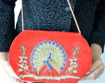 Vintage Clutch, Vintage Red Velvet Clutch, Velvet Clutch, Handbag, Purse, Vintage Purses, Vintage Handbags, Red Velvet Handbag