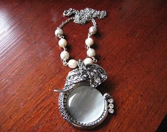 Elephant necklace silver | pendant | rhinestone | animal | bohemian