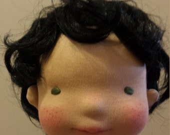 Synthetic fiber doll wig
