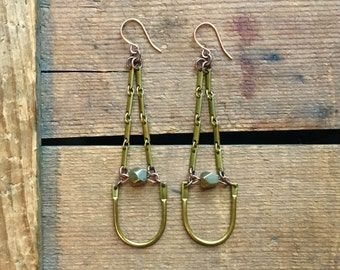brass dangles / vintage brass earrings / pyrite earrings / PYRITE & BENT BARS